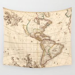 Map of North and South America (1660) Wall Tapestry