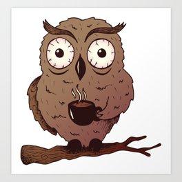 Caffeine Owl Drinking Coffee Art Print