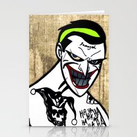 jared leto Stationery Cards featuring Mark Hamill + Jared Leto = The Joker by VanBof