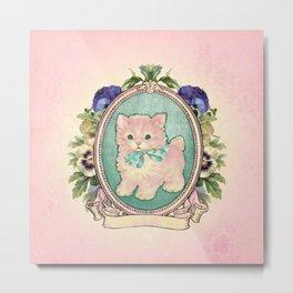 Kitschy Pink Kitten Metal Print