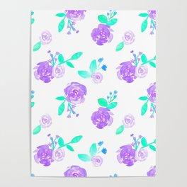Purple Watercolor Rose Garden Print Poster