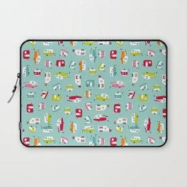 Multicolour Campers on aqua Laptop Sleeve