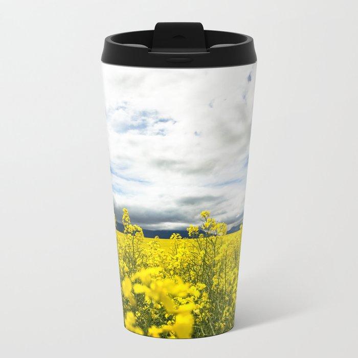 Fields of yellow Metal Travel Mug