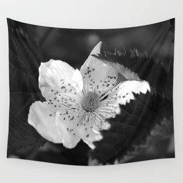 Black and White Strawberry Blossom Wall Tapestry