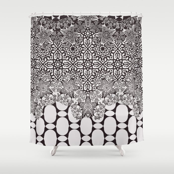 Floral Border With Geo Mix In Black And White Shower Curtain