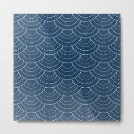 Blue sashiko pattern Metal Print