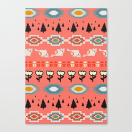 Winter pattern  with cats and flowers Canvas Print