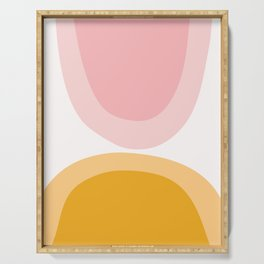 Abstract Shapes 43 in Mustard Yellow and Pale Pink (Rainbow Abstraction) Serving Tray