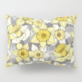 Daffodil Daze - yellow & grey daffodil illustration pattern Pillow Sham