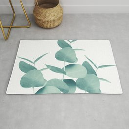 Eucalyptus Leaves Green White #1 #foliage #decor #art #society6 Rug