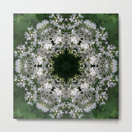 Botanical lace, white lilac mandala /kaleidoscope Metal Print