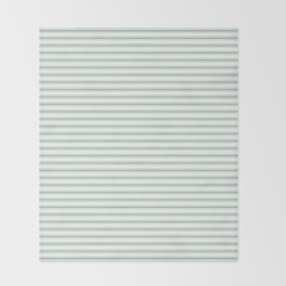 Mattress Ticking Narrow Horizontal Striped Pattern in Moss Green and White Throw Blanket