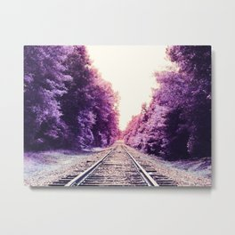 Amethyst Orchid Train Tracks Metal Print