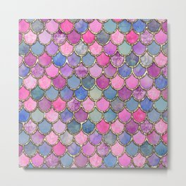 Colorful Pink Mermaid Scales Metal Print