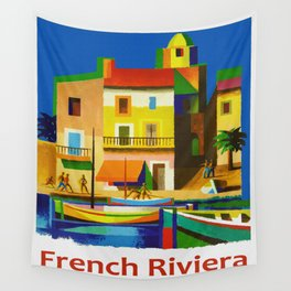 Vintage French Riviera Travel Ad Wall Tapestry