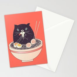 Bowl of ramen and black cat Stationery Cards