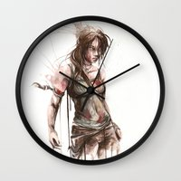lara croft Wall Clocks featuring Lara by Alonzo Canto