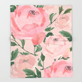 Watercolor Peonies with Blush Background Throw Blanket