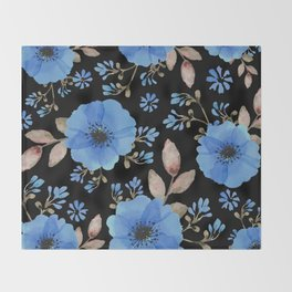 Blue flowers with black Throw Blanket