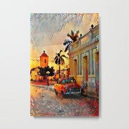 Painted Cuban Sunset Metal Print