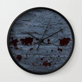Textured Brick Blue Wall Clock