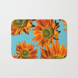 Orange Sunflower Pattern Bath Mat
