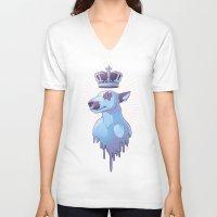 bull terrier V-neck T-shirts featuring BULL-TERRIER by La fuite du cerveau