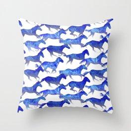 Running Watercolor Horses Pattern - Blue Throw Pillow