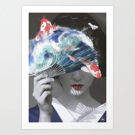 Geisha with Koi Fan. Art Print