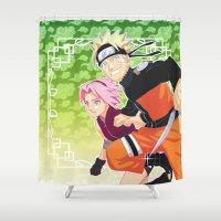 naruto Shower Curtains featuring Naruto & Sakura by Neo Crystal Tokyo