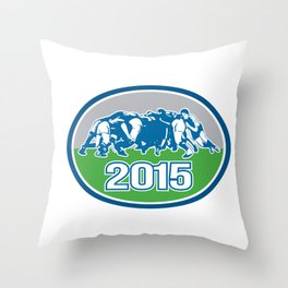 Rugby Scrum 2015 Oval Throw Pillow
