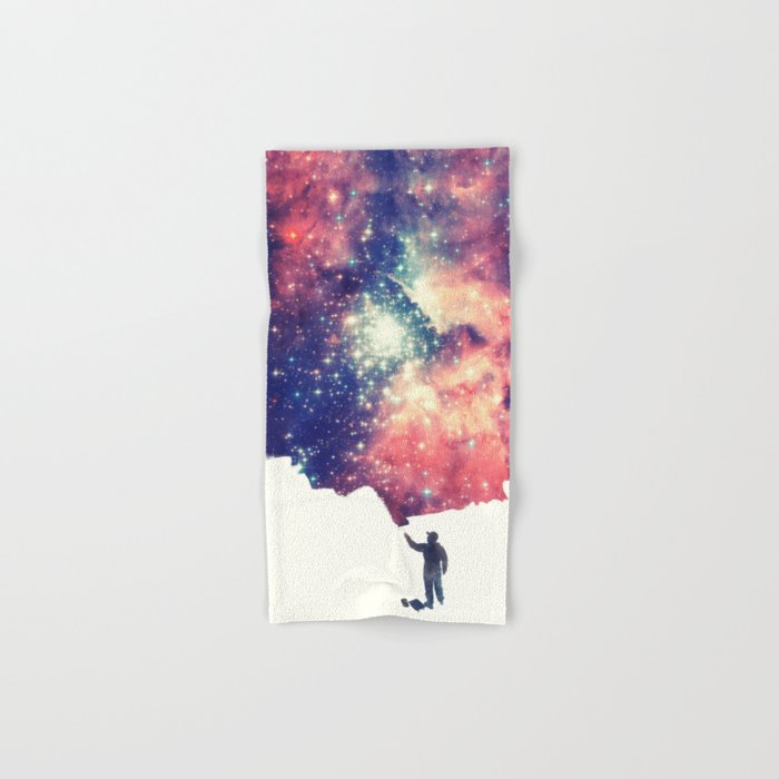 Painting the universe (Colorful Negative Space Art) Hand & Bath Towel