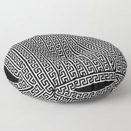 Greek Key Full - White and Black Floor Pillow