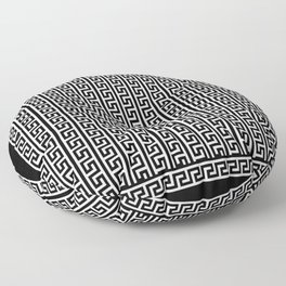 Greek Key Full - White and Black Floor Pillow