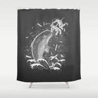 narwhal Shower Curtains featuring Narwhal Skewer by victor calahan