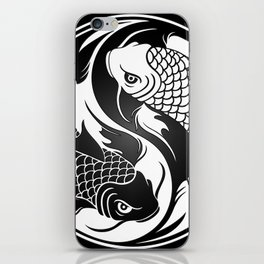 White and Black Yin Yang Koi Fish iPhone Skin