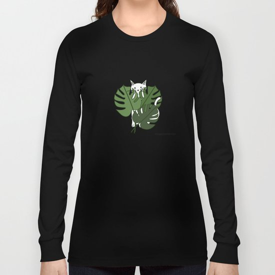 Cat hidden in the palm leaves Long Sleeve T-shirt