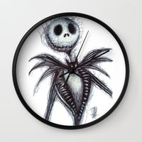 jack skellington Wall Clocks featuring Jack Skellington scribble by Patricia Pedroso