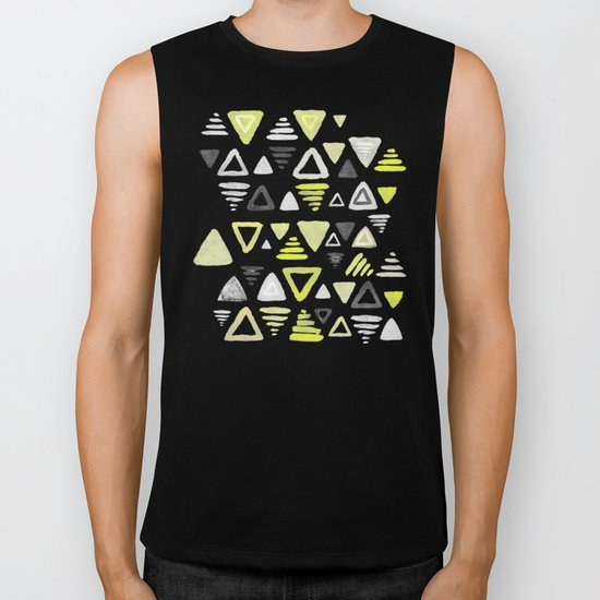 Summer Yellow Triangles on Grey Biker Tank