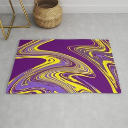 Purple and Yellow Fluid Painting Rug