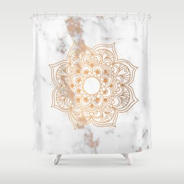 Copper flower mandala - marble Shower Curtain