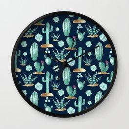 CACTUS & SUCCULENT | Desert Plants on Navy Blue Wall Clock