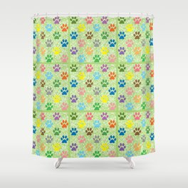 Colorful paw prints Shower Curtain