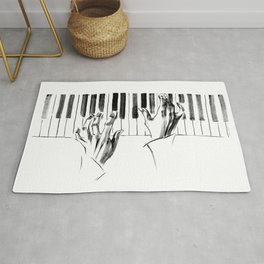 hands of a pianist playing music on the piano Rug