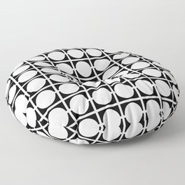 Black and White Geometric Squares and Circles Checkerboard Pattern Floor Pillow
