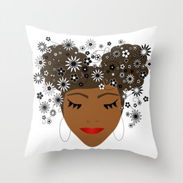 African American Flower Goddess Throw Pillow