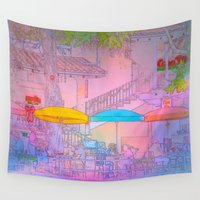 cafe Wall Tapestries featuring Starry-Night Cafe by Alaskan Momma Bear