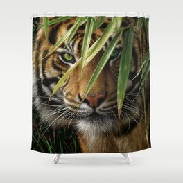 Tiger - Emerald Forest Shower Curtain
