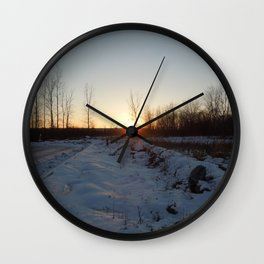 Winter Sunset at Laval - November 21th of 2016 Wall Clock