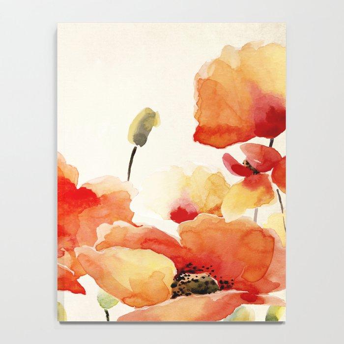 Poppy Flower Meadow- Floral Summer lllustration Notebook